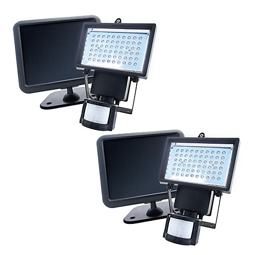 Solar Powered Motion Activated Outdoor 60-LED Security Light (2-Pack)