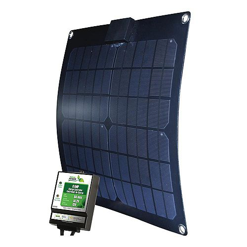 Nature Power 15-Watt Semi-Flex Monocrystalline Solar Panel with Charge Controller for 12-Volt Battery Charging