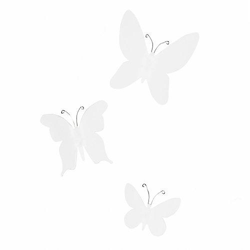 Mariposa.En Plastique Marisposa Pour Décor Mural. Coloris Blanc. X7 Et 9X10Cm