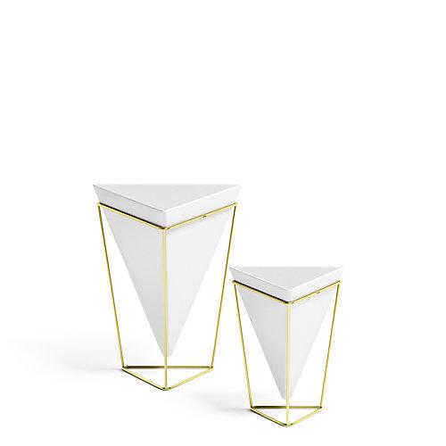 Trigg Tabletop Set (2) Sm+Lg White/Brass