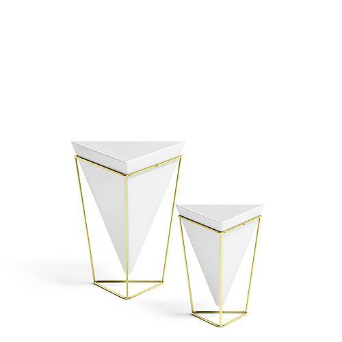 Trigg Tabletop Set White/Brass, Set of 2