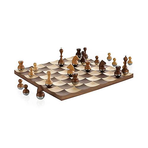 """Wobble Chess. Jeu D'Échec Wobble. Avec Pions En Bois """"Culbuto""""."""
