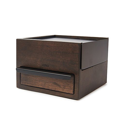 Mini Stowit Jewelry Box Black/Walnut