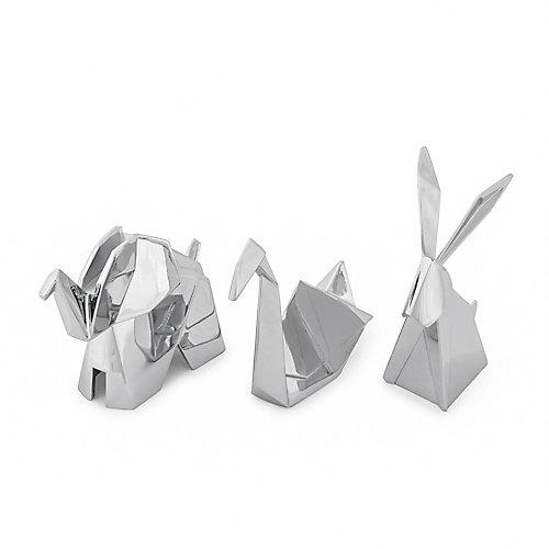 Lot De 3 Porte Bagues Animaliers Origami: 1 Lapin, 1 Éléphant, 1 Cygne.