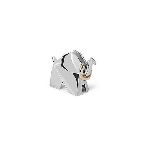 Elephant Origami. Porte Bagues Éléphant Origami. Range Bagues En Métal Chromé