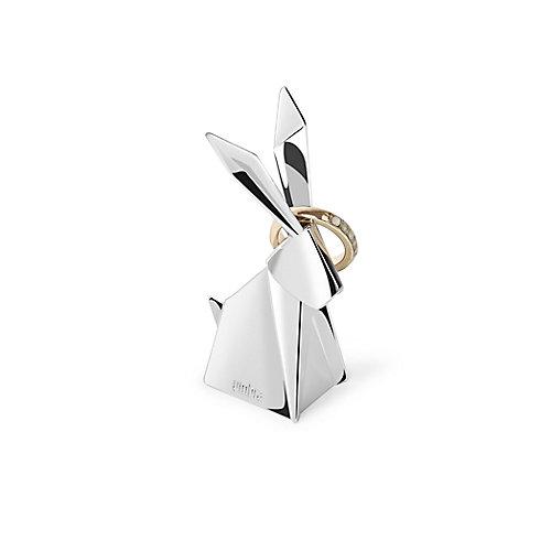 Rabbit Origami. Porte Bagues Lapin Origami. Range Bagues En Métal Chromé
