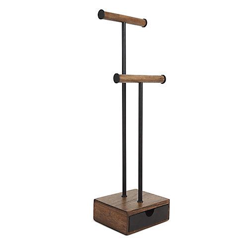 Pillar Jewelry Stand Black/Walnut