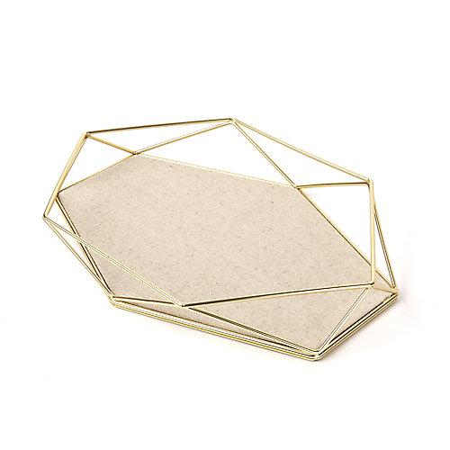 Prisma Jewelry Tray. Plateau À Bijoux Prisma. En Métal Doré Mat Et Tissu. Dimension 28X18.4X3.8Cm