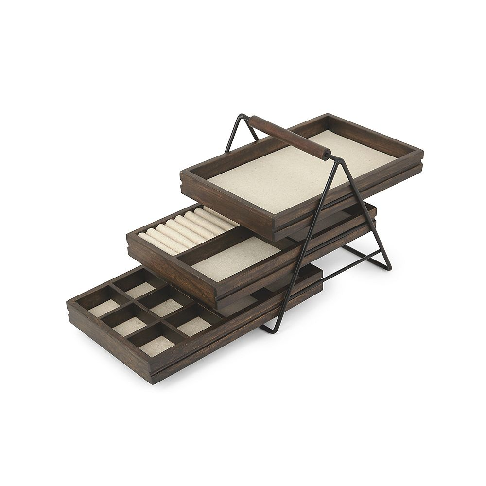 Umbra Terrace Jewelry Tray Black/Walnut
