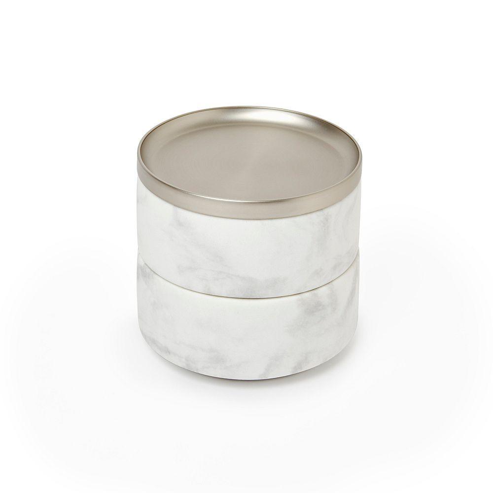Umbra Tesora Decorative Storage Box with Tray in White/Nickel