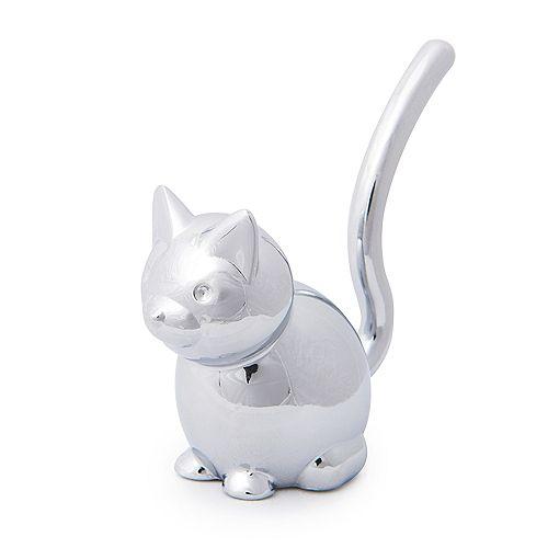 Zoola Cat.  Porte-Bagues Chat En Métal Chromé. Dimension De Chacun Environ 4.5X4.5X7.6Cm
