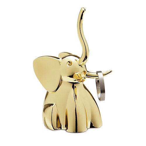Zoola Elephant. Porte-Bagues Éléphant En Métal Doré. Dimension De Chacun Environ 4.5X4.5X7.6Cm