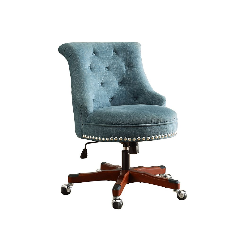Linon Home Decor Office Chair in Aqua with Dark Walnut Wood Base