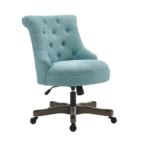 Office Chair Light Blue - Gray Wash Wood Base