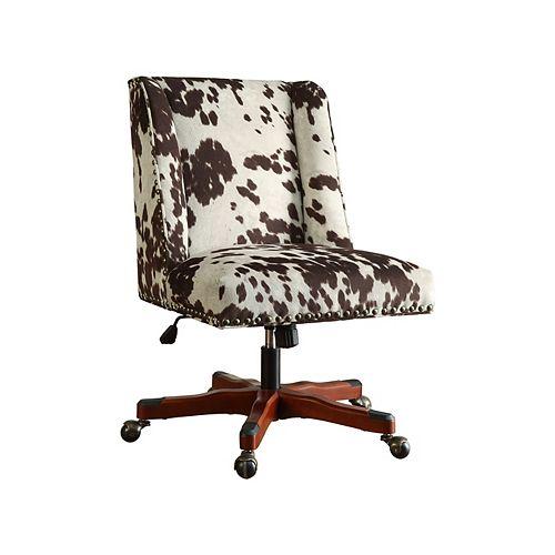 Linon Home Decor Office Chair Udder Madness Milk - Walnut Wood Base