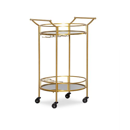 Chariot-bar rond en métal doré
