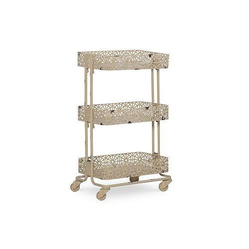 Linon Home Decor Cream Metal Three Tier Cart