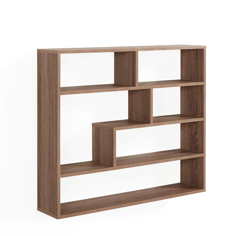 Danya B. Wheathered Oak MDF Large Rectangular Floating Shelf Unit