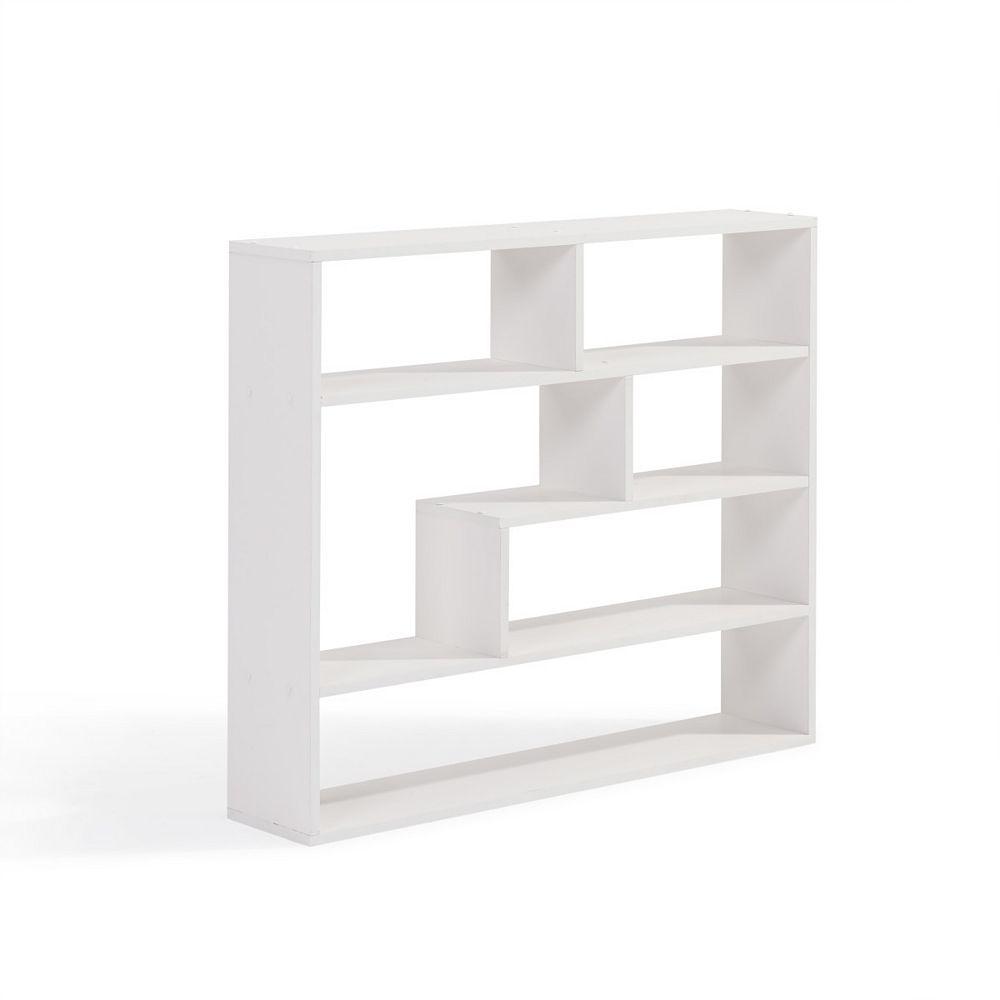 Danya B. 37 inch x 32 inch White Laminated Rectangular Floating Wall Shelf