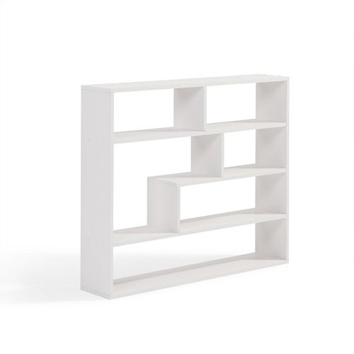 Danya B. 37 inch x 32 inch White Laminated Rectangular Floating Wall Shelf