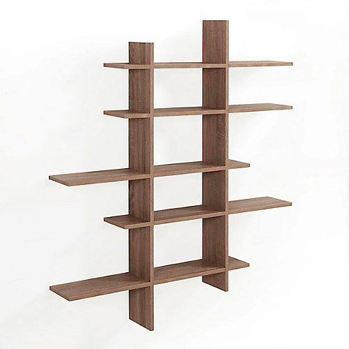 Weathered Oak MDF 5-Level Asymmetric Floating Shelf