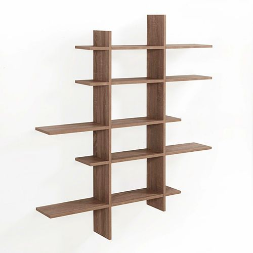 Danya B. Weathered Oak MDF 5-Level Asymmetric Floating Shelf