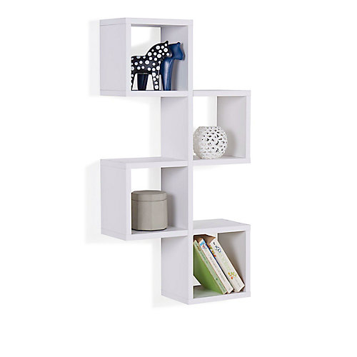 White MDF Cubby Chessboard Floating Wall Shelf