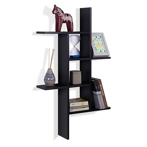 Danya B. Cantilever Black MDF Floating Wall Shelf