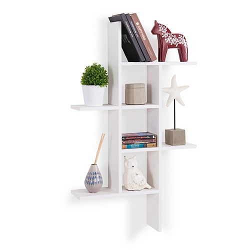 Cantilever White MDF Floating Wall Shelf