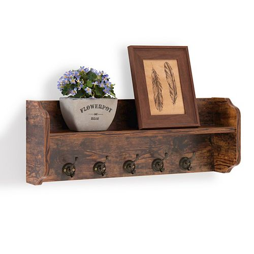 Rustic Aged Wood Print MDF Utility Floating Wall Shelf with Hooks