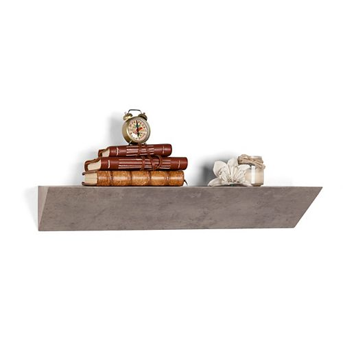Danya B. Contempo Gray Faux Stone MDF Triangular Ledge Floating Wall Shelf