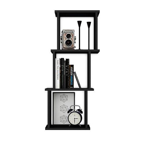 Danya B. Bauhaus Black MDF Wood 3 Cube Floating Wall Shelf