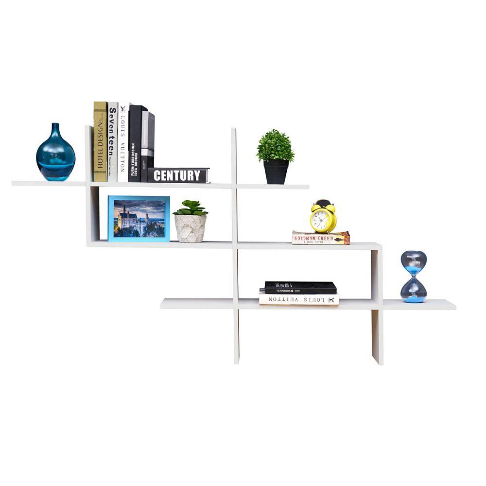 Danya B. Hanover White MDF Wood Elongated Decorative Wall Shelf