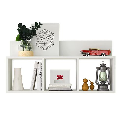 Danya B. Porto White Laminate MDF Triple Cubbie Shelf
