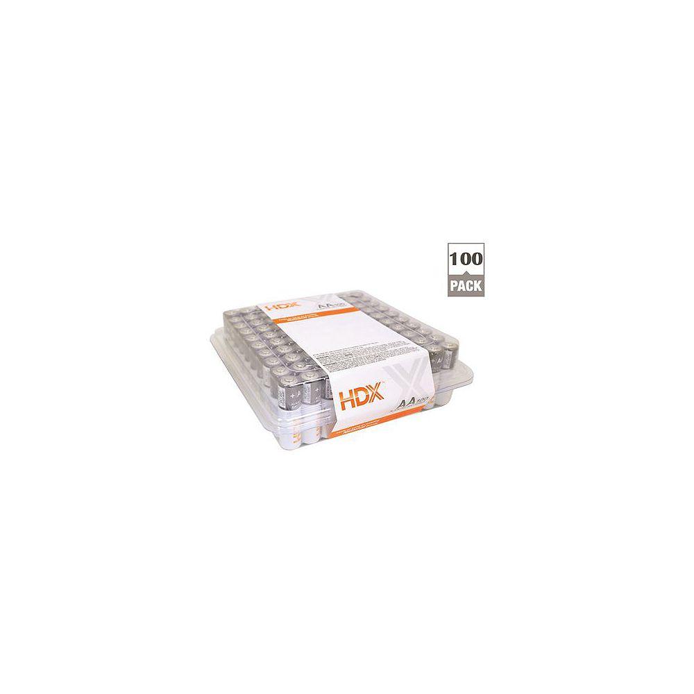 HDX Hdx Alkaline Battery, AA Cell, 100 Pack