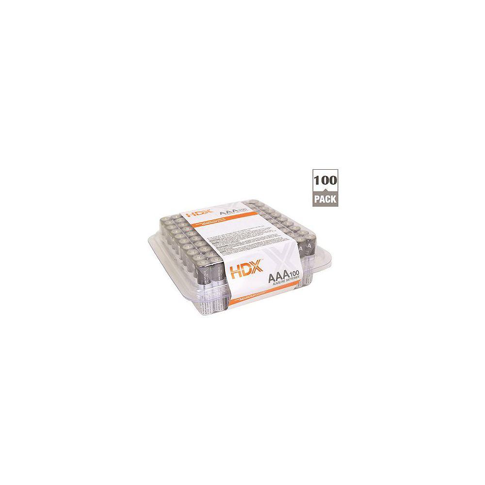 HDX Hdx Alkaline Battery, AAA Cell, 100 Pack