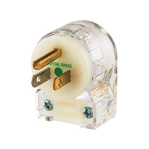 Fiche Coudée De Qualité Hospitalière Transparente, 15A, 125V, Nema 5-15p D'hubbell Wiring