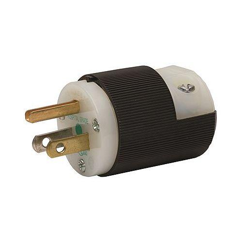 Hubbell Wiring Hospital Grade 15 Amp 125-Volt 5-15p Black/White Plug