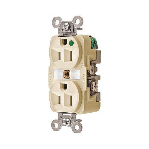 Hubbell Prise Double De Qualité Hospitalière Ivoire, 15A, 125V, Nema 5-15p D'hubbell Wiring