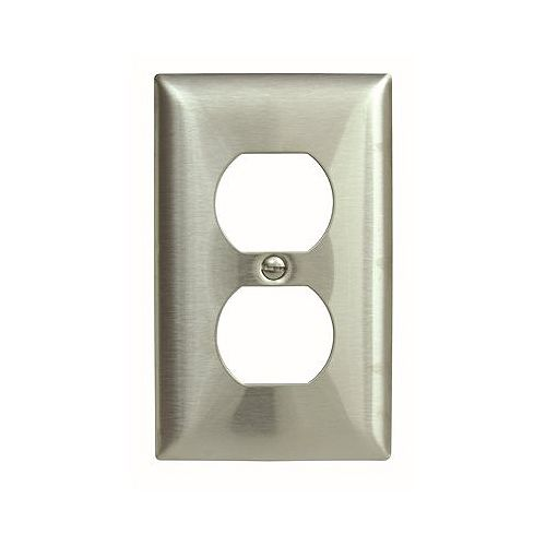 Hubbell Hubbell Wiring 1-Gang Duplex Wall Plate, Stainless Steel