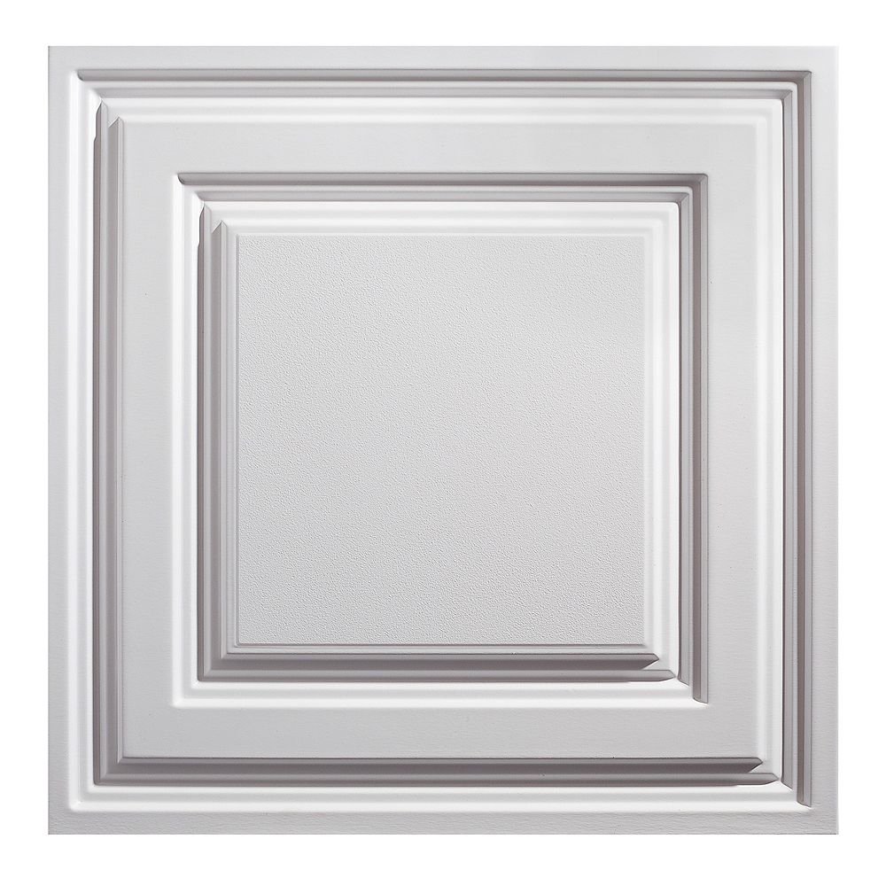 Genesis 2 ft. x 2 ft. Icon Relief White Ceiling Panel Carton of 12