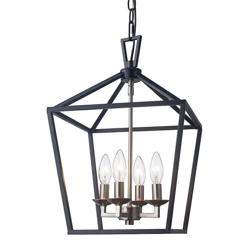 Bel Air Lighting Lacey 4 lumière lanterne noir et nickel brossé pendante