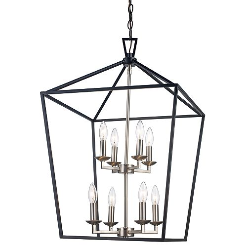 Bel Air Lighting 8-Light 39.25 inch H, Black & Brushed Nickel Pendant