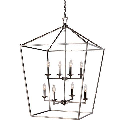 Lacey 39.25 po H, 8 lumière lanterne, 60W, Fini chrome poli pendante