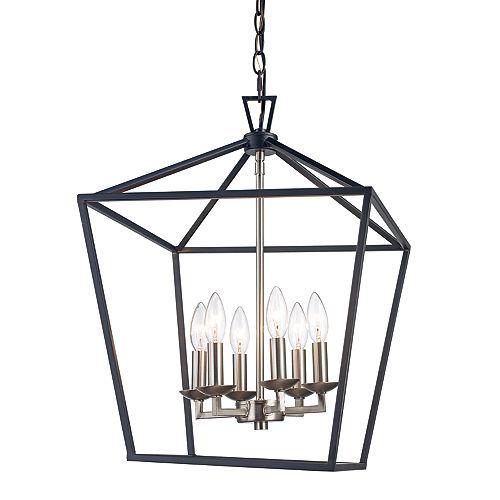 Lacey 6 lumière lanterne, éclairage intérieur, nickel brossé pendante