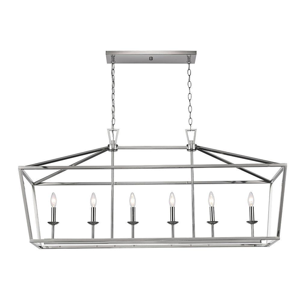 Bel Air Lighting 6 lumière lanterne, 60W, Fini nickel brossé pendante