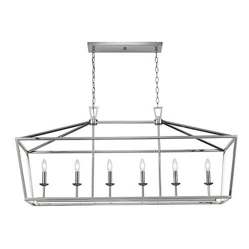 6 lumière lanterne, 60W, Fini nickel brossé pendante
