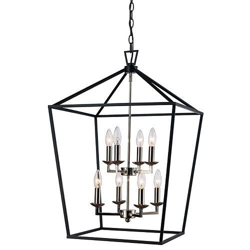 Lacey 8 lumière lanterne, fini chrome poli et noir pendante, 60W.