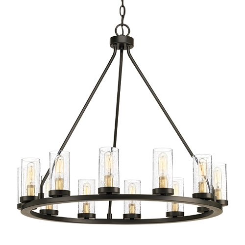 Hartwell Collection 12-light Antique Bronze Chandelier with Natural Brass Accents
