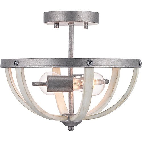 Keowee Collection 2-light Galvanized Semi-Flushmount with Antique White Wood Accents